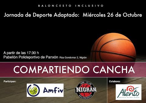 Cartel Compartiendo Cancha ALENTO y Club de Baloncesto Nigrán