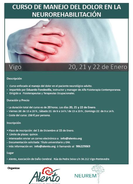 Cartel del curso de manejo del dolor en la neurorrehabilitación organizado por ALENTO