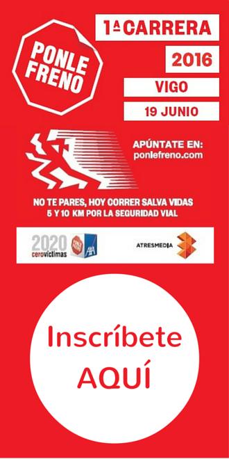 Anuncio primera carrera Solidaria Ponle Freno Vigo a favor de ALENTO Daño Cerebral