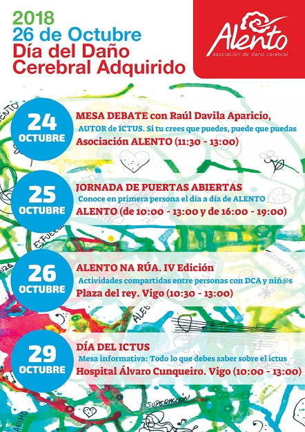 Cartel actividades asociación ALENTO semana del daño cerebral e ictus 2018
