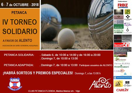 Cartel Torneo Solidario de petanca a favor de ALENTO
