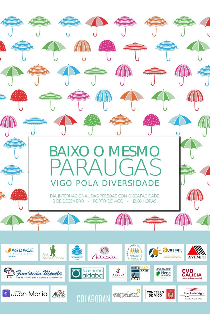 Cartel Día de la Discapacidad 2018. Bajo un mismo paraguas