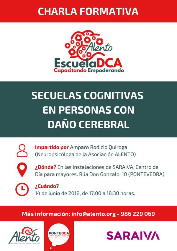 Cartel EscuelaDCA. Secuelas cognitivas daño cerebral. ALENTO. Pontevedra