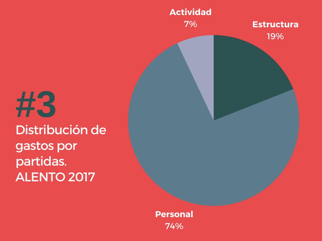 Destino de los gastos 2017. Asociación ALENTO