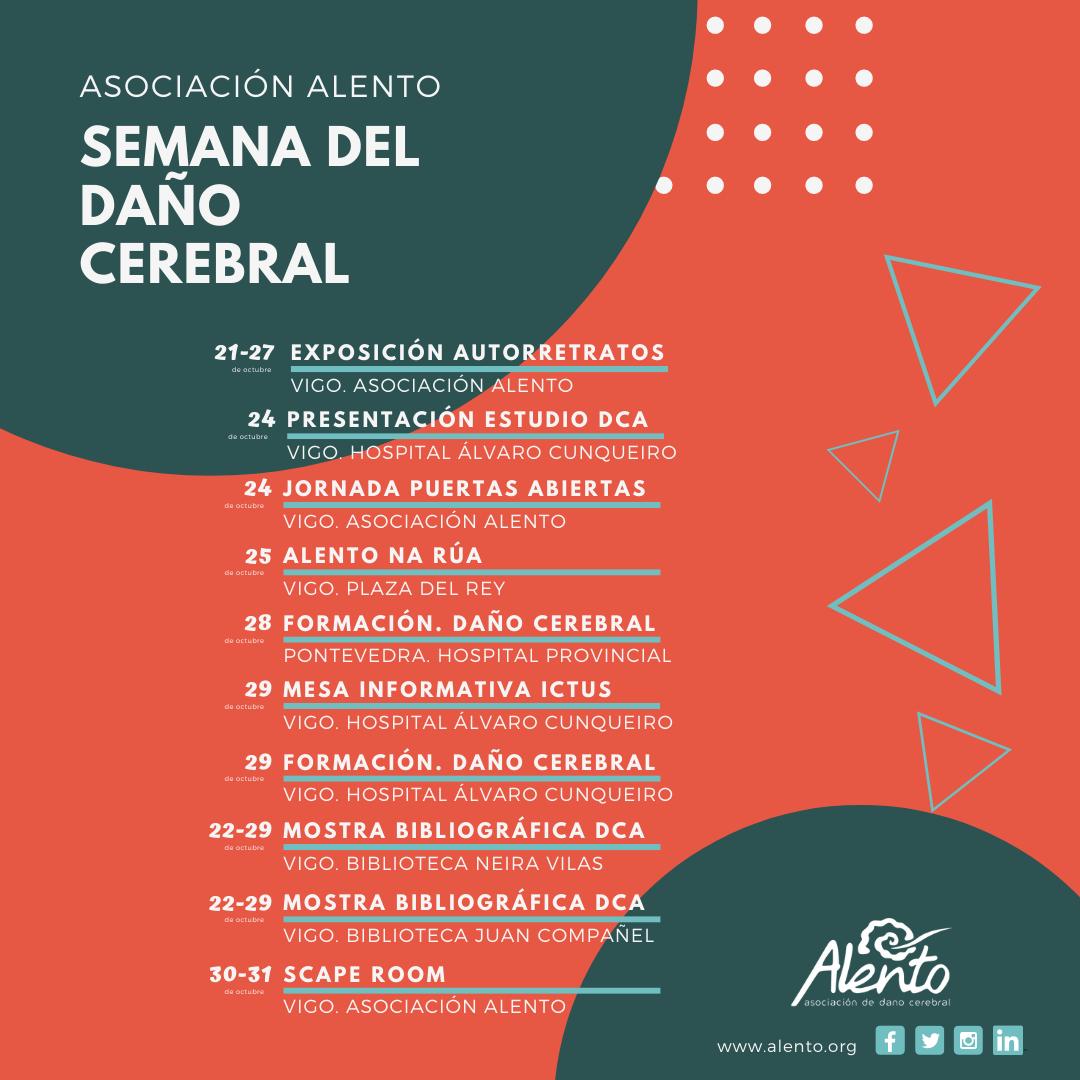 Cartel de la semana del daño cerebral en ALENTO Vigo