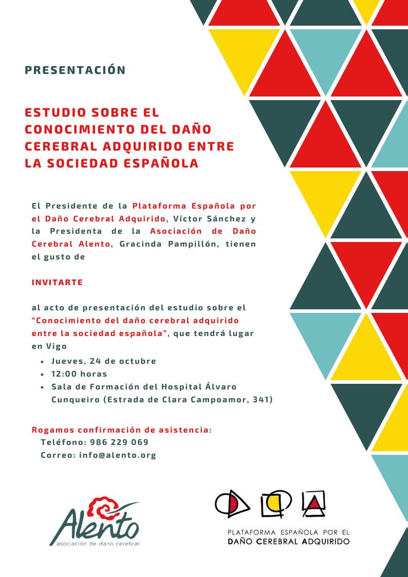 Invitación Presentación Estudio sobre el conocimiento del DCA en la sociedad española en Vigo. Asociación ALENTO