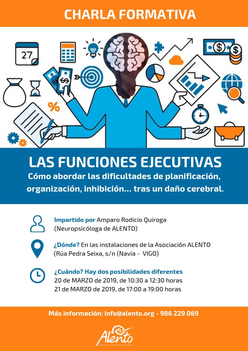 Cartel formación EscuelaDCA ALENTO Vigo. Las funciones ejecutivas en personas con daño cerebral