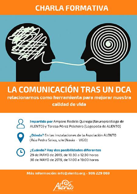 Cartel Formación EscuelaDCA ALENTO en Vigo sobre Comunicación tras el Daño Cerebral
