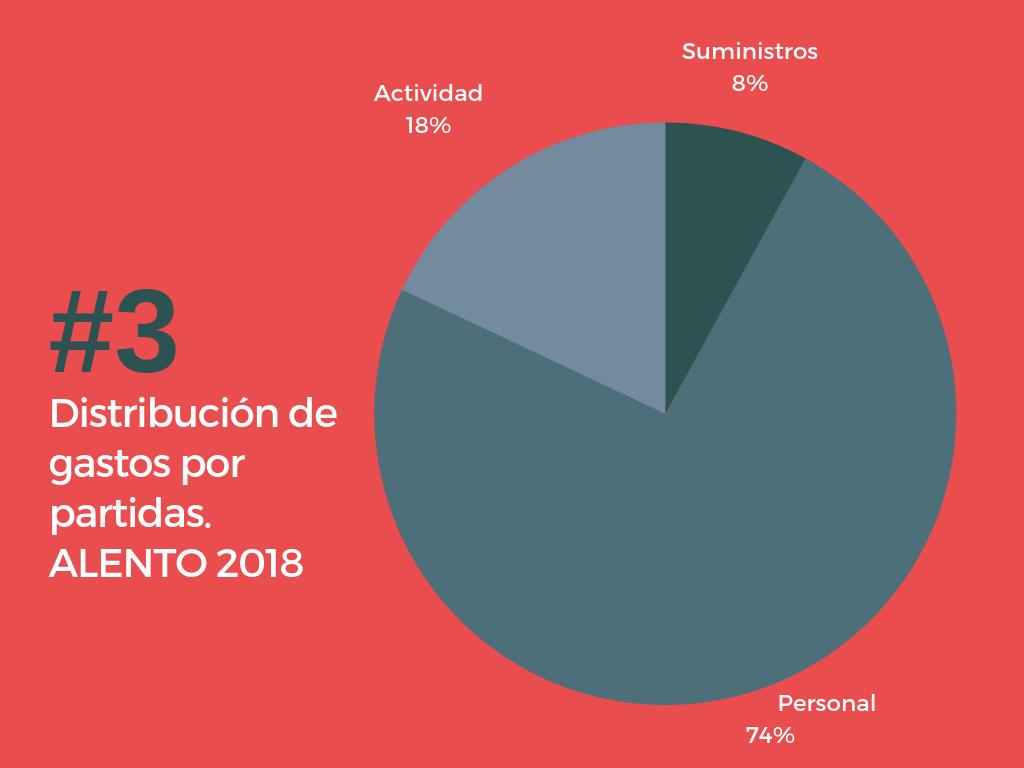 Destino de los gastos 2018. Asociación ALENTO