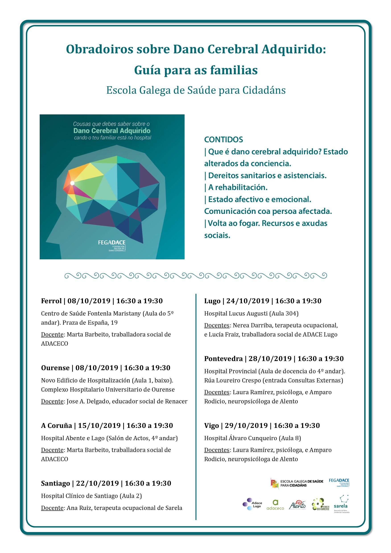 Cartel talleres formativos sobre daño cerebral Vigo y Pontevedra