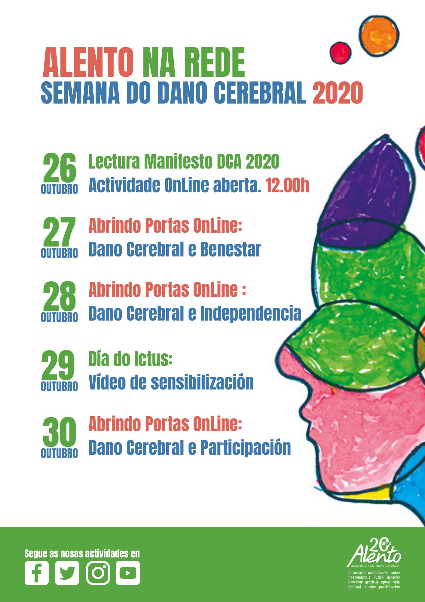 Cartel actos de la semana del Daño Cerebral 2020 organizada por la Asociación ALENTO