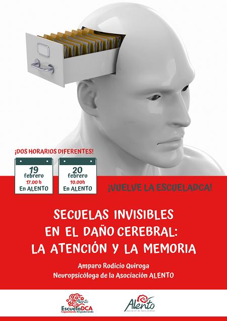 Cartel Formación sobre memoria y atención después del daño cerebral en ALENTO Vigo