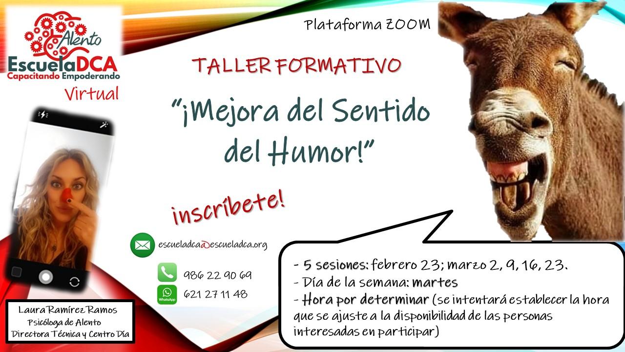 Cartel Taller Formativo EscuelaDCA ALENTO Mejora del sentido del humor