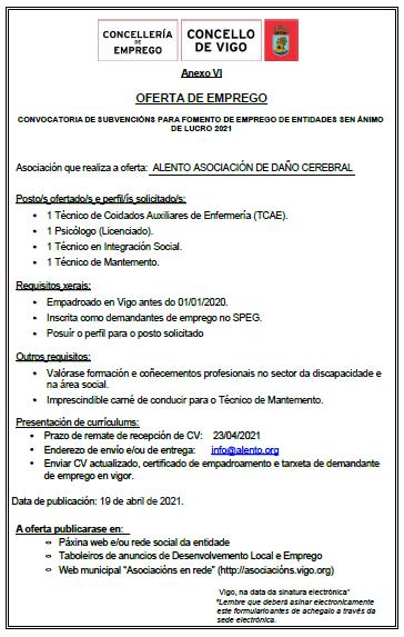 Oferta de empleo en ALENTO Vigo